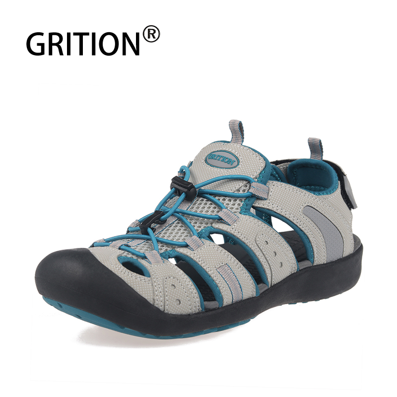 GRITION Women Sandals Outdoor Summer Beach Flat Heel Female Leather Platform Shoes Breathable Casual Sport Fashion