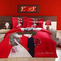 red romantic wedding lover printed bedding full queen size comforter set Egyptian cotton 600TC girl's bedroom decoration 4-5 pcs