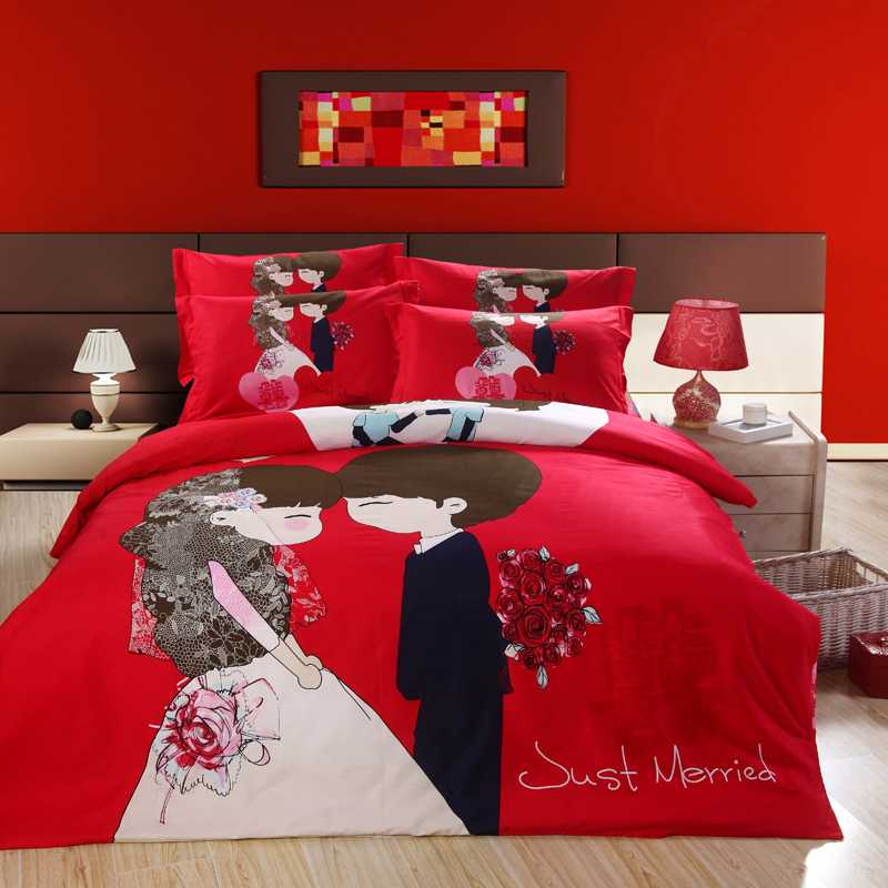 us 71 09 21 off red romantic wedding lover printed bedding full queen size comforter set egyptian cotton 600tc girl s bedroom decoration 4 5