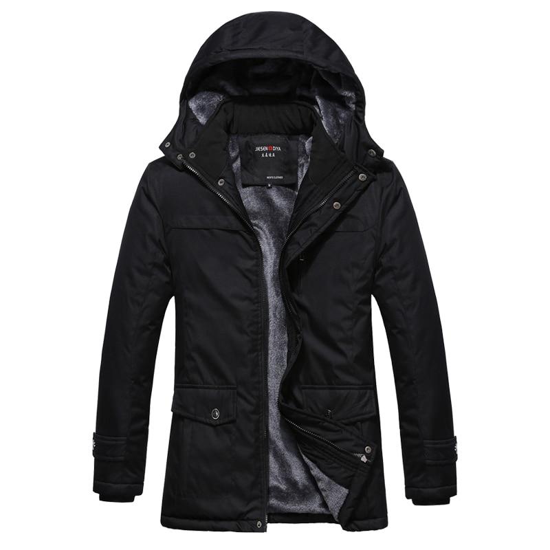 ФОТО Winter Jacket Men 2017 Thickening Warm Casual Men Hooded Wadded Coat Plus Velvet Brand Parka Men Large Size Jacket Coat