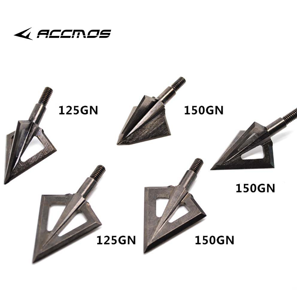 1pcs  125 Grain/150 Grain Hunting Arrow Heads Arrow Tips For Recurve / Compound Bow Hunting Shooting Stainless Steel Broadheads