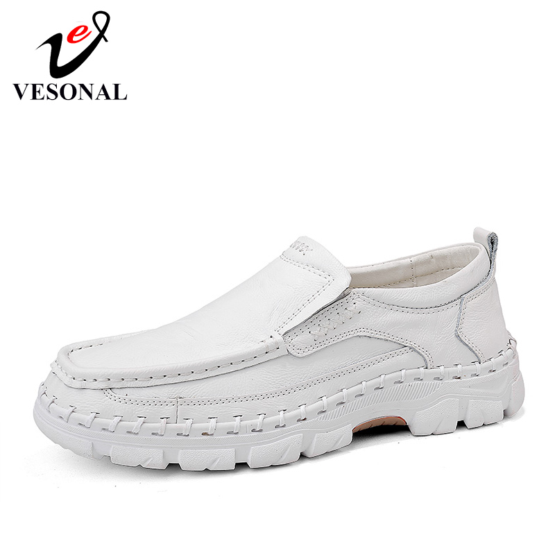 VESONAL 2019 Spring Slip On Loafers Handmade Genuine Leather Men Shoes Oxfords Comfortable Male Casual Sneakers