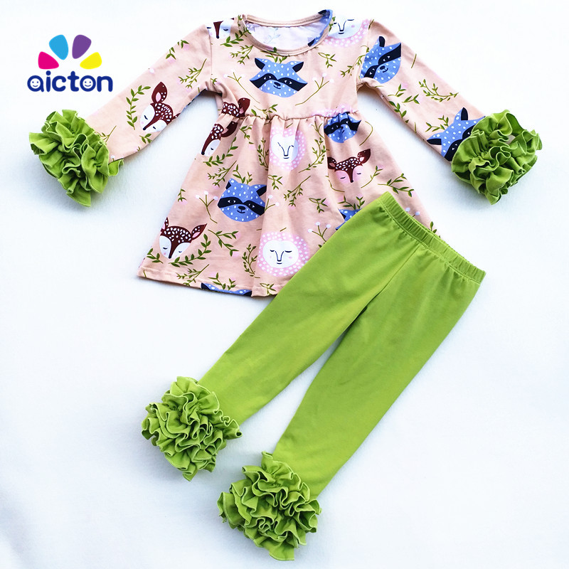 цены на AICTON Fall winter design foxes printed children clothing sets ruffle pants kids boutique clothing tunic sets for toddler girls в интернет-магазинах