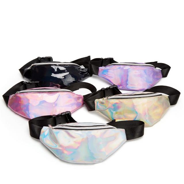 Free Shipping Laser Waist Packs Bags Women Pure Color Fanny Pack Female Belt Bag Black PVC Waist Packs Laser Chest Phone Pouch