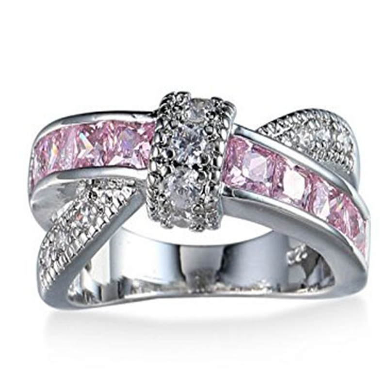 ZHIXUN cross finger ring for lady paved cz zircon luxury hot Princess women Wedding Engagement Ring pink color jewelry