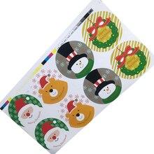 80 шт./лот, веселая Рождественская круглая посылка, печать, наклейка, Рождественский Санта Клаус, Подарочная этикетка, самоклеющаяся наклейка