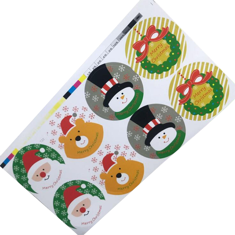 80pcs/lot  Merry Christmas Round Package Seal Sticker Christmas Santa Claus Gift Label Self Adhesive Sticker