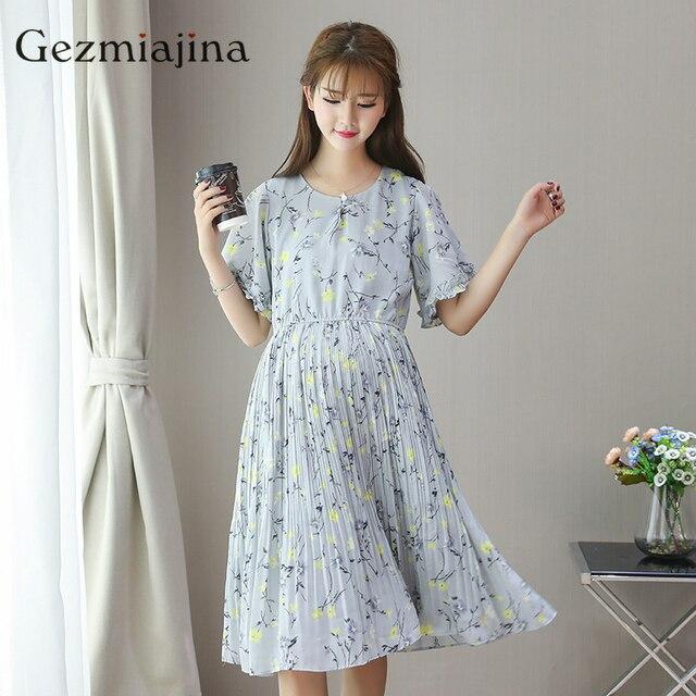 c27a676417 Lato odzież ciążowa ciążowe sukienka w kwiaty z krótkim rękawem drukuj  sukienka w ciąży kobieta plisowana