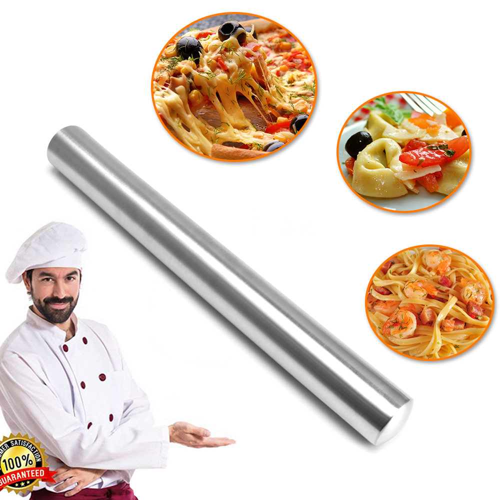 Stainless Steel Rolling Pin Non Stick Roller Dumpling Fondant Cookie Cake Decorating Rolling Pins Pizza Pastry Baking Tool in Rolling Pins Pastry Boards from Home Garden
