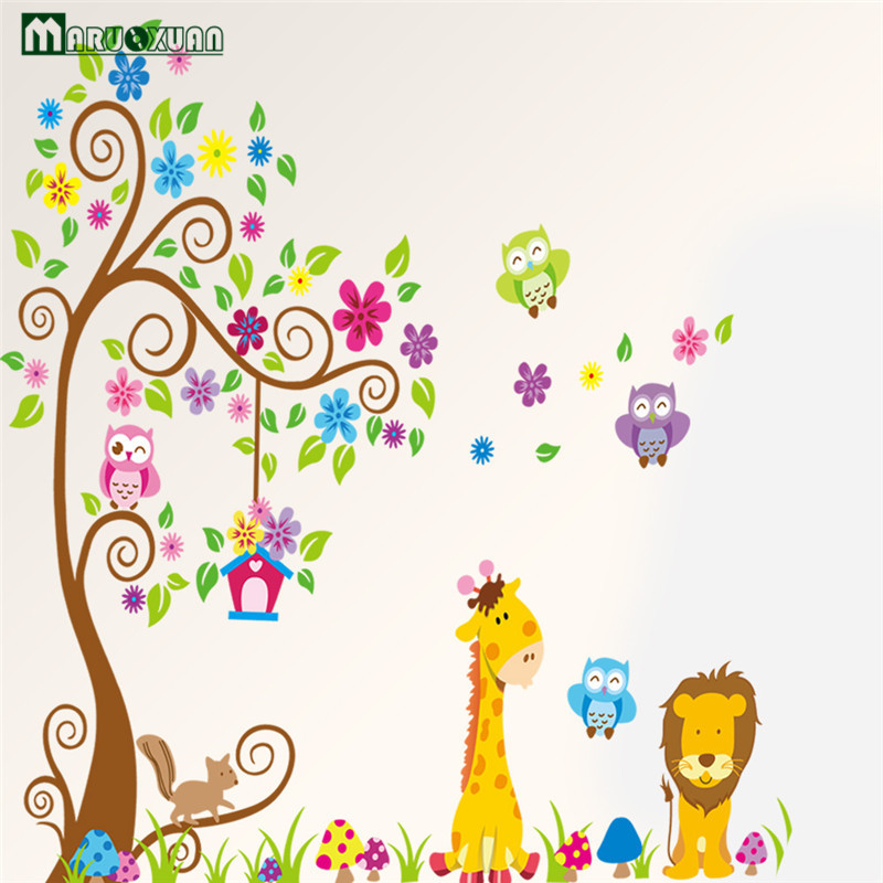 Animal Giraffe Owl Tree Wall Decals Home Decoration Wallpaper Living Room  Sofa Vinyl Wall Stickers For Kids Rooms Home Decor  In Wall Stickers From  Home ...