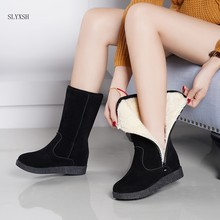 fashion Women winter black snow Boots Thickened zapatos de mujer Boots a rode Flat Low Zipper Middle Tube Boots heel 5 cm(China)
