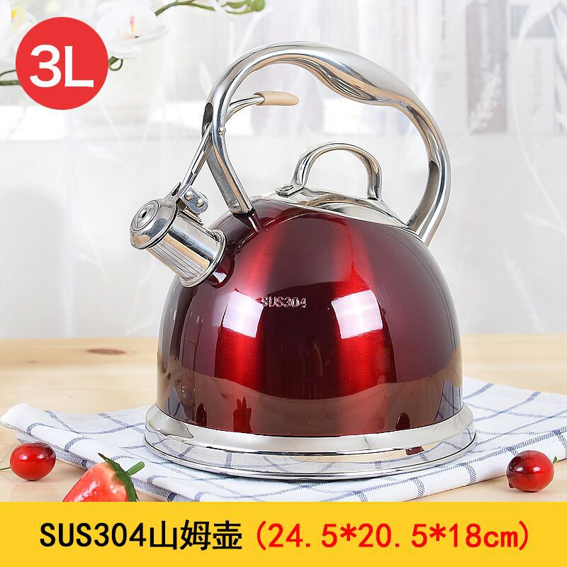 Stainless steel composite bottom kettle whistle household hot water cooker induction cooker flat bottom water storage