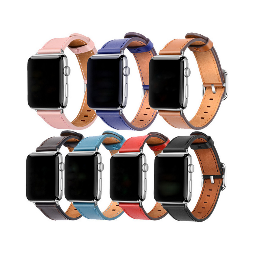 2018 new Genuine Leather strap band for apple watch 3 42mm 38mm Classic Buckle belt wrist bracelet band for iwatch 1/2/3 woven canvas casual sports watch band iwatch strap genuine leather watch belt for apple watch