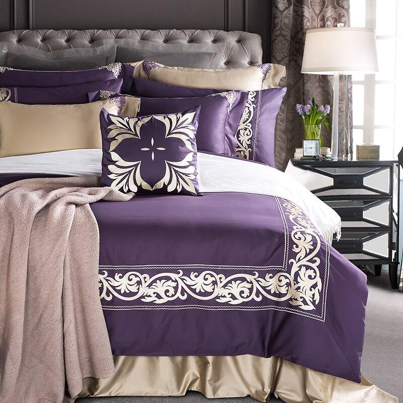 Ξ4/7 unids algodón egipcio de lujo noble púrpura Ropa de cama ...