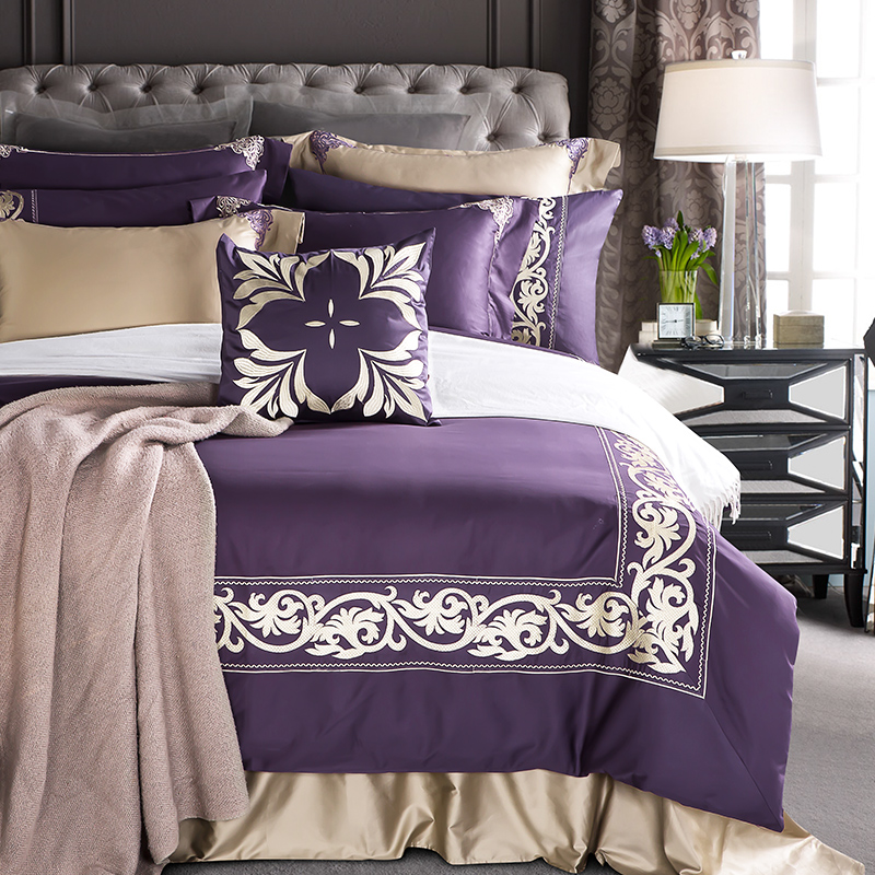 4/7Pcs Egyptian Cotton Noble Luxury Purple Bedding set Embroidered Duvet cover King Queen size Bed sheet set Pillowcase