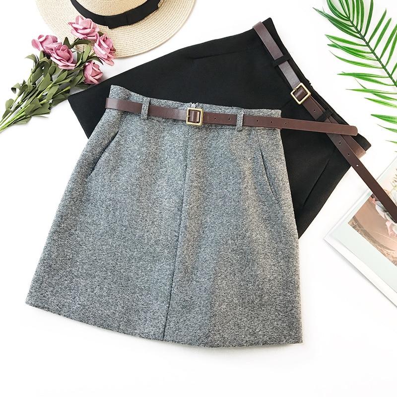 2019 Spring New Arrival Vintage Temperament High Waist A line Office Skirts Womens With Belt Woolen