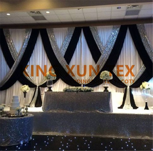 3m 6m Whole Price White Wedding Backdrop Curtain With Black Color Silver Sequin Drape Swag Valance Decoration
