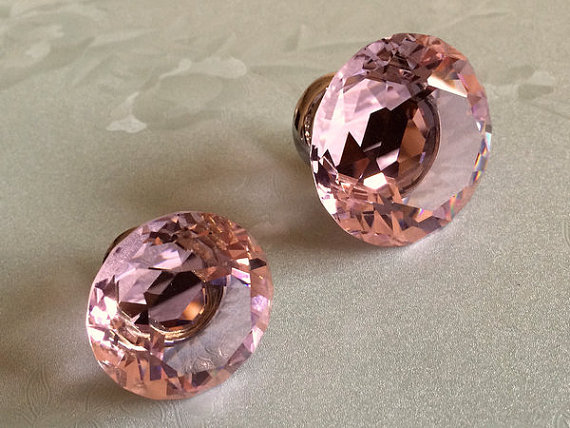 Pink Knobs Glass Knobs Crystal Dresser Knob Drawer Pulls Handles Silver Kitchen Cabinet Knobs Sparkly Shiny Furinture Bling css clear crystal glass cabinet drawer door knobs handles 30mm