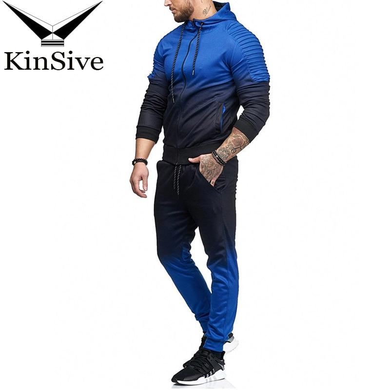 Brand Tracksuit Men Sporting Zipper Sweatshirt + Pants Casual Hoodies Two Piece Sweat Set Jogger Track Suit For Men Clothes 2018