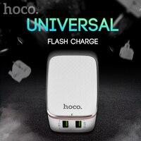 HOCO 더블 USB 미국 영국 EU 플러그 여행 스마트 충전기 아이 패드 아이팟 삼성 LG 벽 홈 여행 AC 빠른 2.4A
