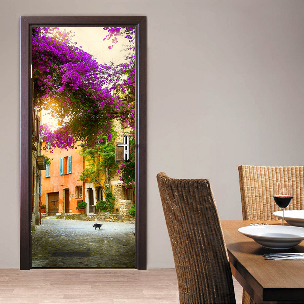 The french town door stickers 3d pvc self adhesive for Adhesive decoration