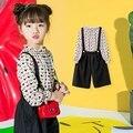 Весна Новый 2017 Девушки Рубашка и Нагрудник Штаны Детей Из Двух Частей Устанавливает Детям Моды Блузка Свободные Брюки Малыш Брюки, 2-61Y