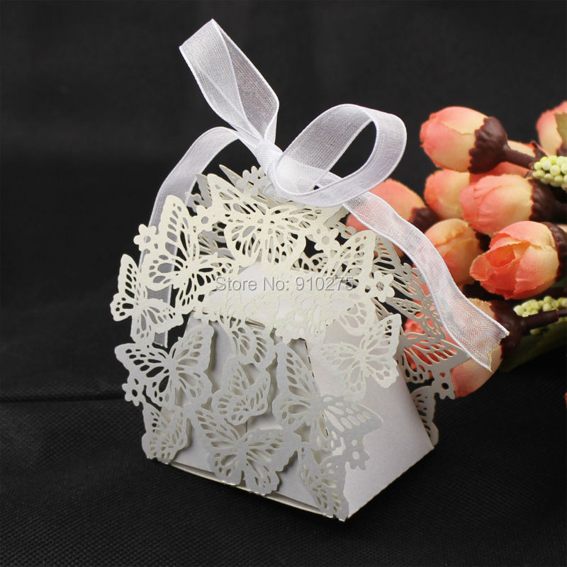 Pack Of 50 Laser Cut Butterfly Wedding Favor Box With Organza Ribbon