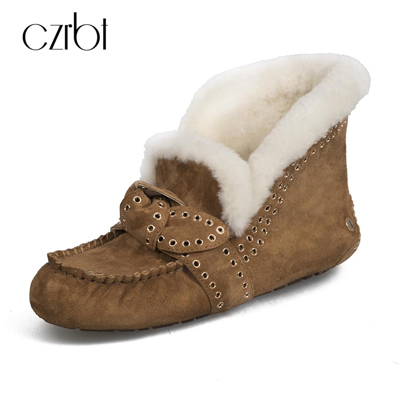 CZRBT Woman Snow Boots 100% Cow Suede Ankle Boots Warm Winter Boots Woman Butterfly-knot Round Toe Flat Heel Casual Shoes 34-39 big size 34 43 winter russian women keep warm shoes 100% cow suede fur shoes flat with round toe solid ankle lady snow boots