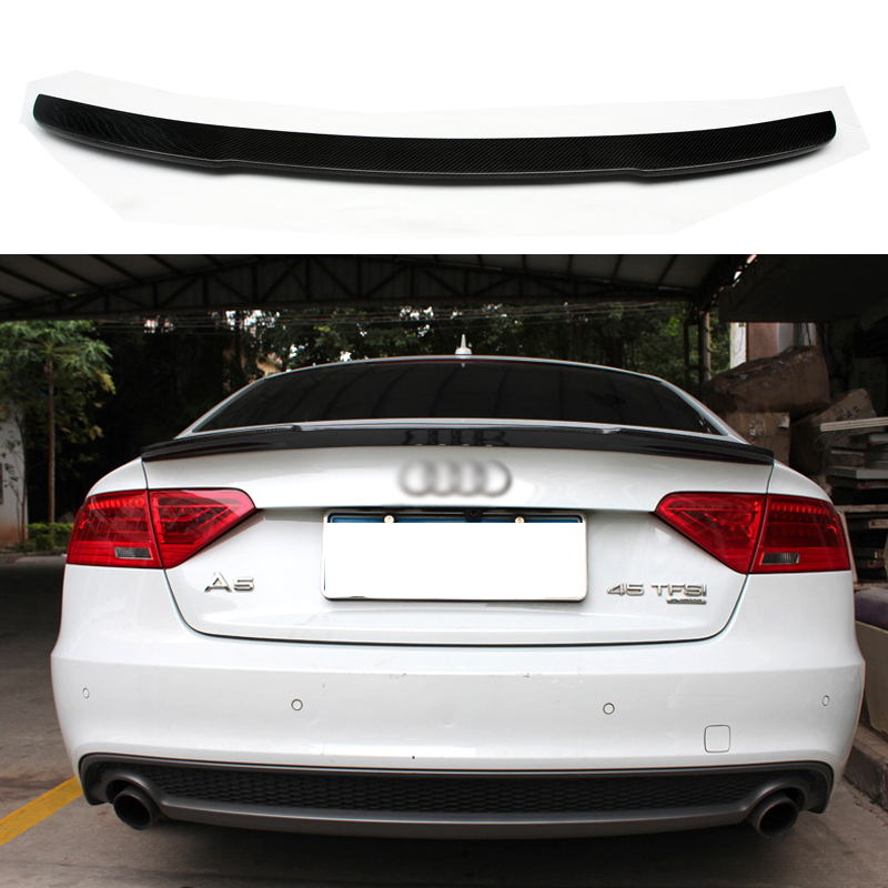 Car Accessories Carbon Fiber Modified Rear <font><b>Spoiler</b></font> Tail Trunk Wing Boot Lip Wing Fit For <font><b>Audi</b></font> <font><b>A5</b></font> S5 <font><b>Sportback</b></font> 4Doors 2009-2016 image