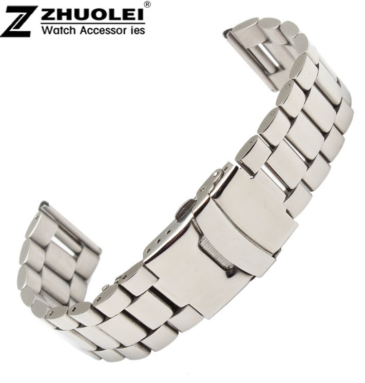 promotion 18mm 20mm 22mm New High quality  Silver Stainless Steel Solid Links Watch Band Strap Bracelet Free Shipping new high quality 18mm 20mm 22mm women men stainless steel bracelet watch band strap straight end solid links watch accessories