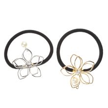 Girl Pearl Wire Flower Ponytail Holder Scrunchy Hair Rope Hair Tie Band Rope Soild Ponytail Holder For Hair Styling Tool Braider