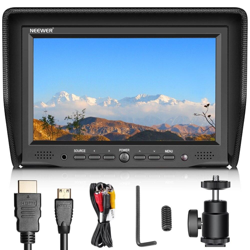Neewer 7 дюйм(ов) на Камера поле Мониторы с VGA/AV/HDMI Вход IPS Экран 800: 1 Контрастность 800x480 высокое Разрешение для Canon/Nikon