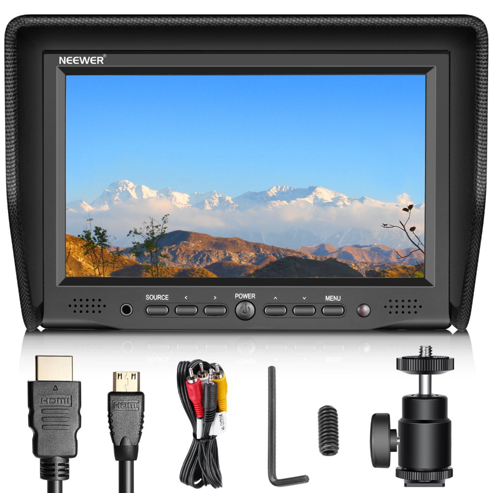 Neewer 7 inches On Camera Field Monitor with VGA/AV/HDMI Input IPS Screen 800:1 Contrast 800x480 High Resolution for Canon/Nikon