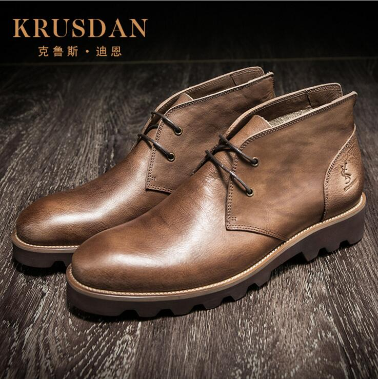 [krusdan]fashion Classic Luxury Men Boots Genuine Leather Casual Black Brown Ankle Boots For Men Male Shoes Business free shipping 1pc wet drill 51 450 8mm