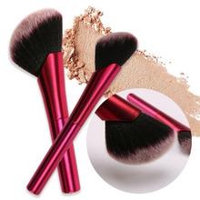 купить New oblique head blush brush powder rouge brush rose aluminum tube traceless foundation brush single makeup brush beauty makeup дешево