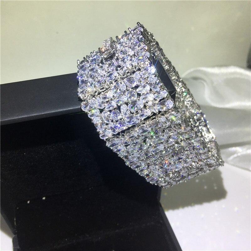 Bracelet femme de luxe 5A cubique zircone or blanc rempli fête fiançailles bracelets pour femme accessoires de mariage largeur 30mm - 4