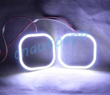 Angel Eyes COB Luz LED Square Luz Corriente DRL Para coche de La Motocicleta Luz Antiniebla Faros HID Bi Xenon Lente Del Proyector luz