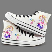 Высокая-Q унисекс Сейлор Мун Косплэй кеды парусиновая обувь Повседневное ежедневно веревки обувь на подошве Сейлор Мун ручная роспись обувь