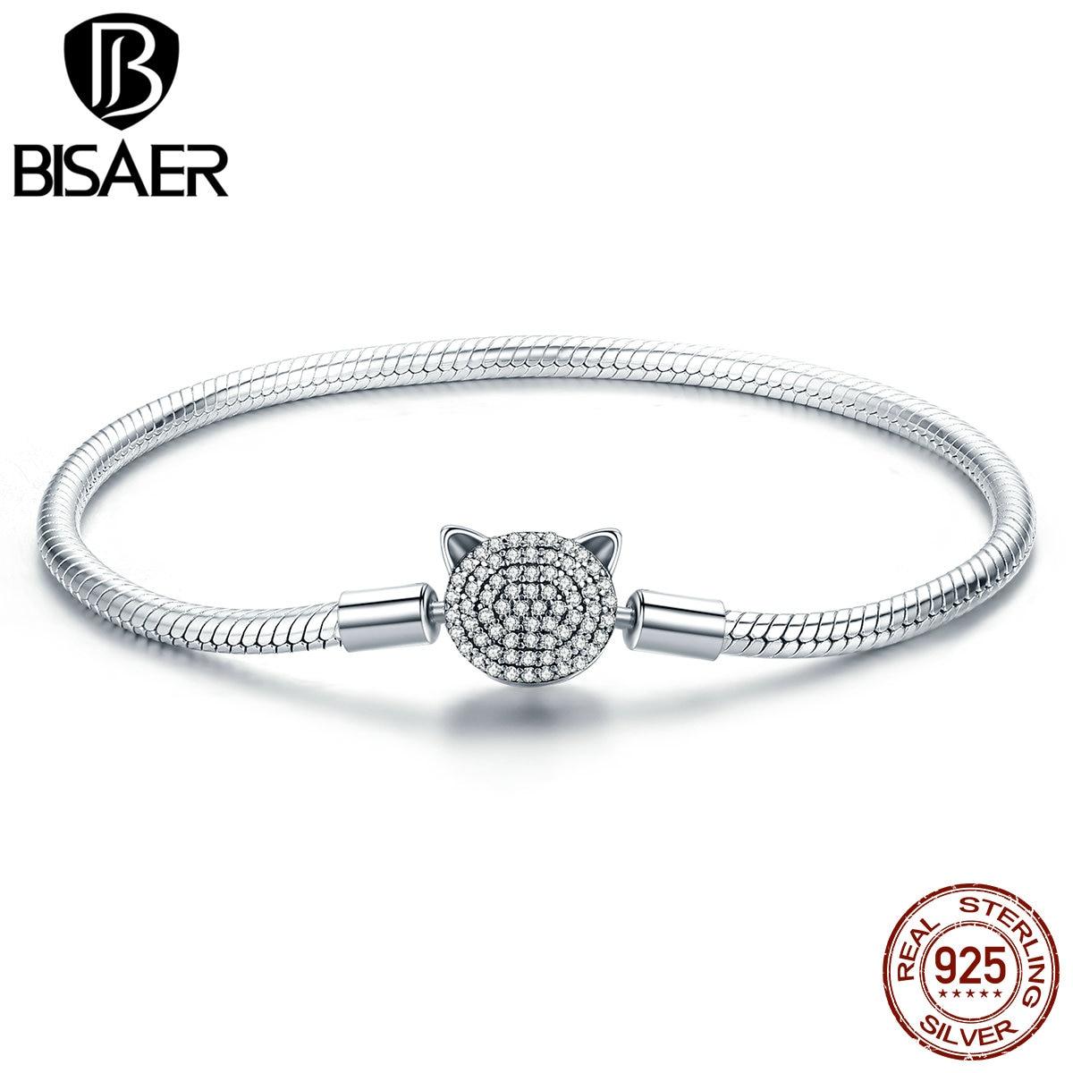 100% 925 Sterling Silber Schöne Tier Frech Katze Silber Schlange Verschluss Charme Armbänder Frauen Armband Mädchen Mode Schmuck