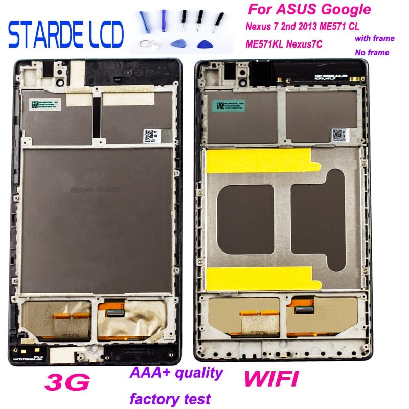 Bilgisayar ve Ofis'ten Tablet LCD'ler ve Paneller'de LCD ekran Digitizer ASUS Google Nexus 7 için 2nd 2013 ME571 ME571KL ME571K K008 ME572CL ME572 Nexus7C LCD meclisi ile çerçeve title=