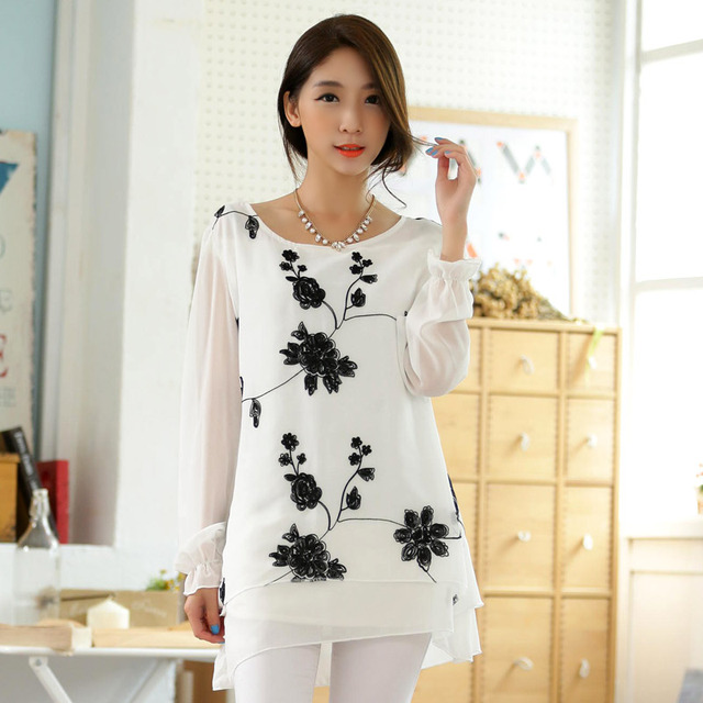 483d33e8f Moda blusas y camisas de mujer tallas grandes ropa de mujer bordado blusas  ocasionales flojas de