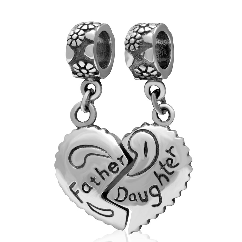 "Authentic 925 sterling silver charms beads, ""Father and Daughter"" Pendant Fit for Pandora Bracelets Jewelry"