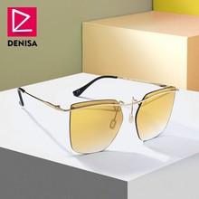 DENISA Yellow Square Rimless Sunglasses Men Women 2019 Fashi