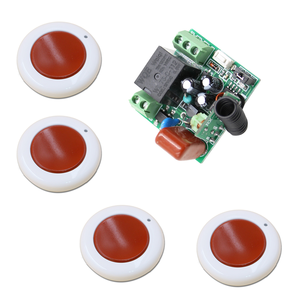 New Arrival 220V 1CH 1pcs Receiver+4pcs Transmitter RF Wireless Remote Control Power Switch System for Home Smart 315/433 new restaurant equipment wireless buzzer calling system 25pcs table bell with 4 waiter pager receiver