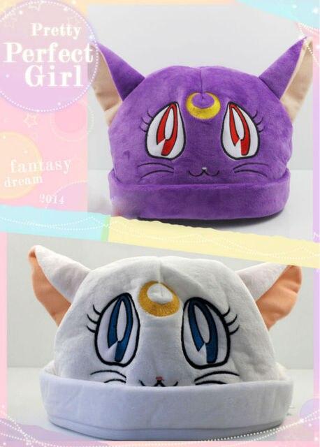 Cosplay Sailor Moon Luna Kot Pluszowy Kapelusz Fioletowy I Biały