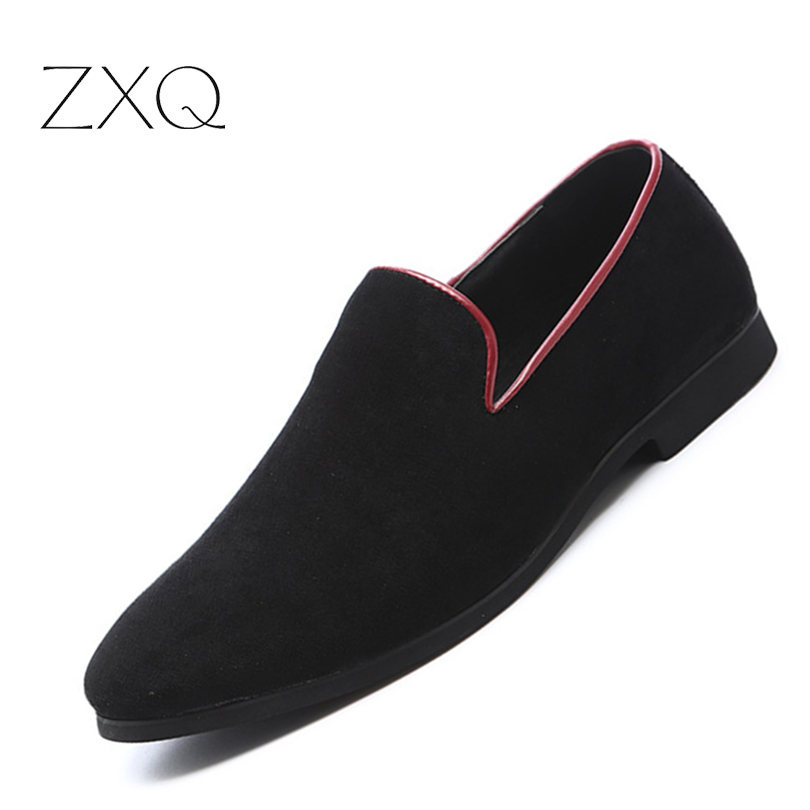 ZXQ Men Suede Loafers New Summer Slip On Flats