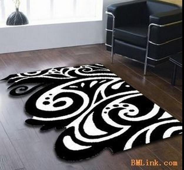 Continental Classique Noir et blanc tapis Manuel Acrylique salon ...