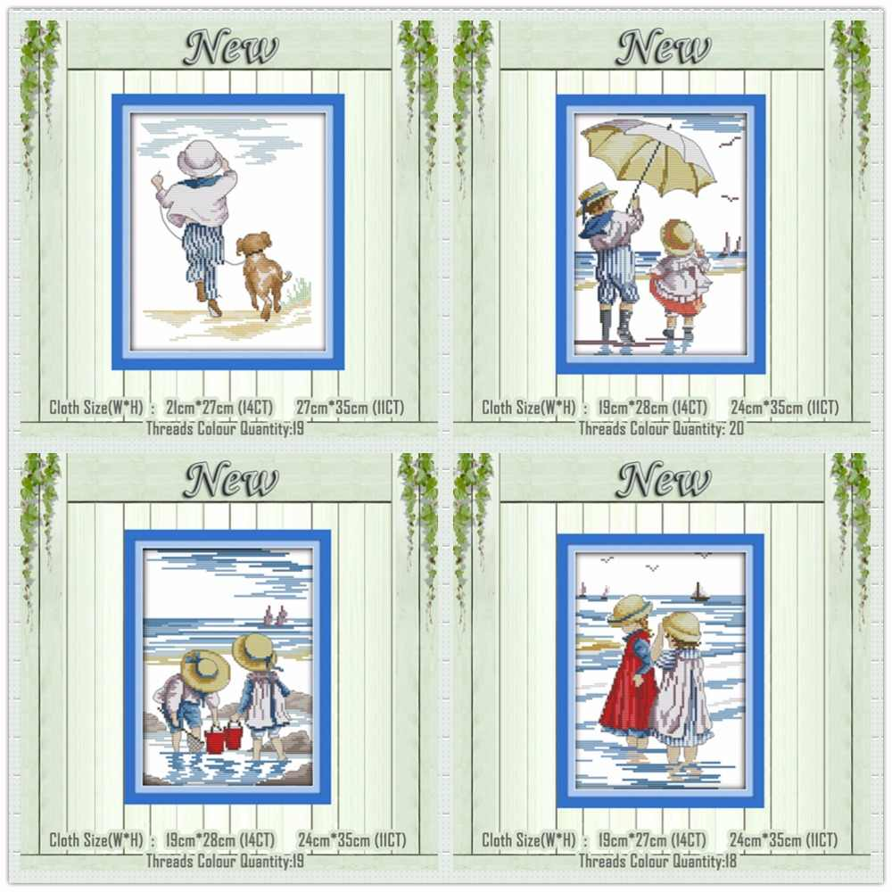 Playing on the beach kids Girl boy painting counted printed on canvas DMC 14CT 11CT Cross Stitch Needlework Sets Embroidery kit