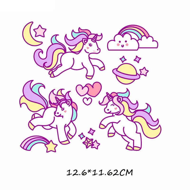 Набор патчей с изображением животных из мультфильмов, милые патчи с изображением единорога, кошки, совы, собаки, цветов для детей, одежда для девочек, футболка, сделай сам, термопресс - Цвет: 494