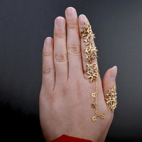 Top Quality New Fashion Hollow Flower Siamese Knuckle Ring Micro Pave AAA Zircon Crystal Open Cuff